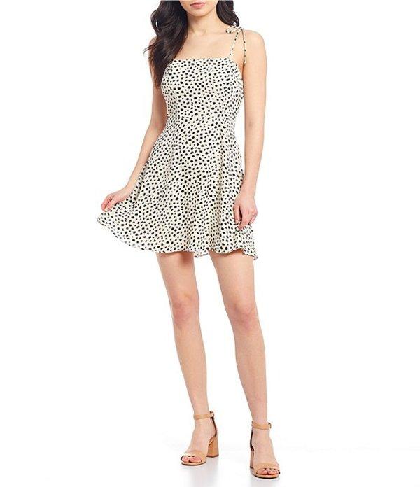 ジービー レディース ワンピース トップス Tie Strap Dotted Mini Dress Ivory/Black