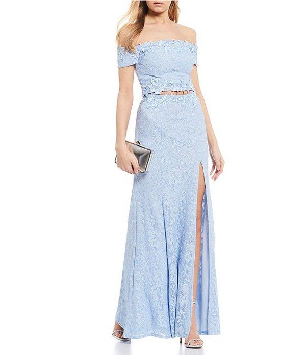 シークインハーツ レディース ワンピース トップス Off-The-Shoulder Glitter Lace Two-Piece Long Dress Ice Blue