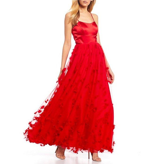 シークインハーツ レディース ワンピース トップス Spaghetti Strap Satin 3D Floral Ballgown Red