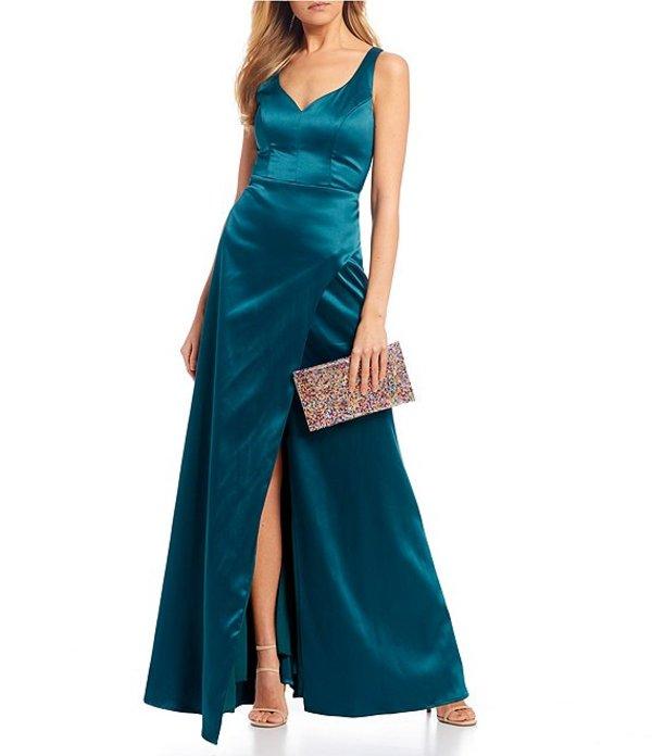 シークインハーツ レディース ワンピース トップス V-Neck Satin Cage Back Long Dress Emerald
