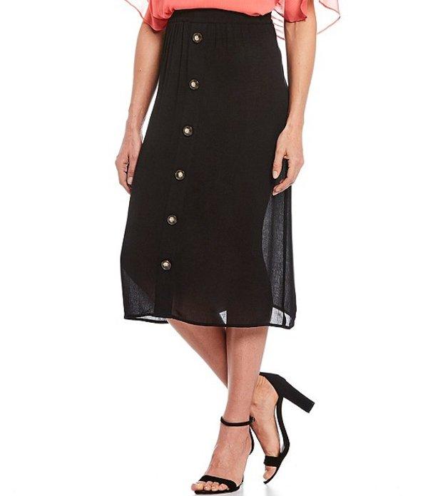 アイエヌ スタジオ レディース スカート ボトムス Pull-On Button Front Detail A-Line Midi Skirt Black