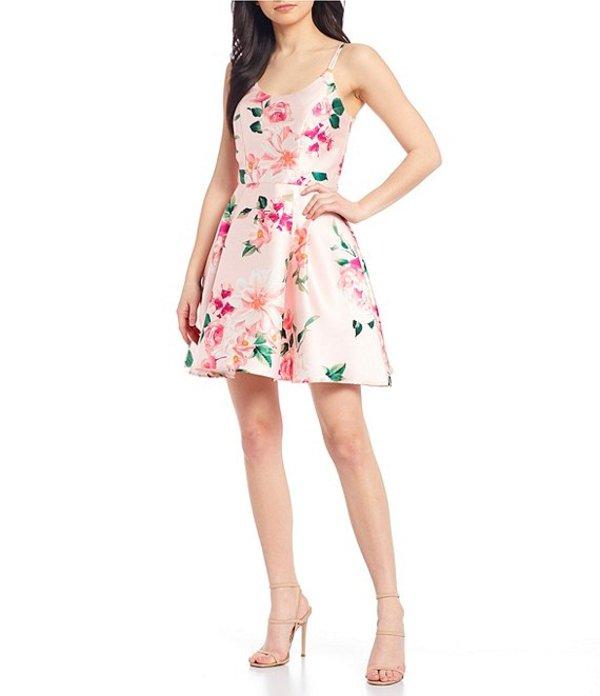 シークインハーツ レディース ワンピース トップス Double Spaghetti Strap Floral Fit-and-Flare Dress Blush/Pink