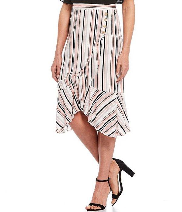 アイエヌ スタジオ レディース スカート ボトムス Stripe Faux Wrap Button Detail Ruffle Pull-On Midi Skirt Coral Variegated Stripe
