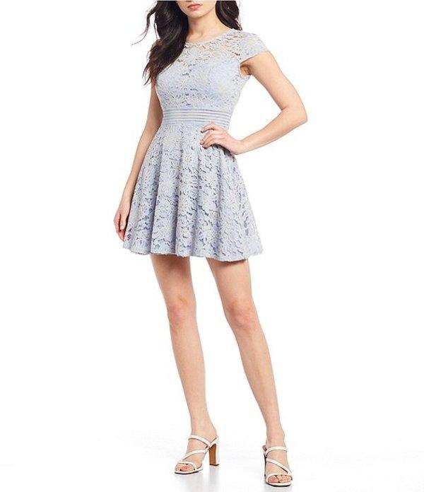 シティヴァイブ レディース ワンピース トップス Cap Sleeve Illusion Waist Lace Dress Periwinkle/Ivory