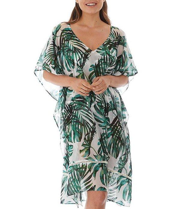 ファンタジー レディース ワンピース トップス Palm Valley V-Neck Kimono Sleeve Caftan Cover Up Fern