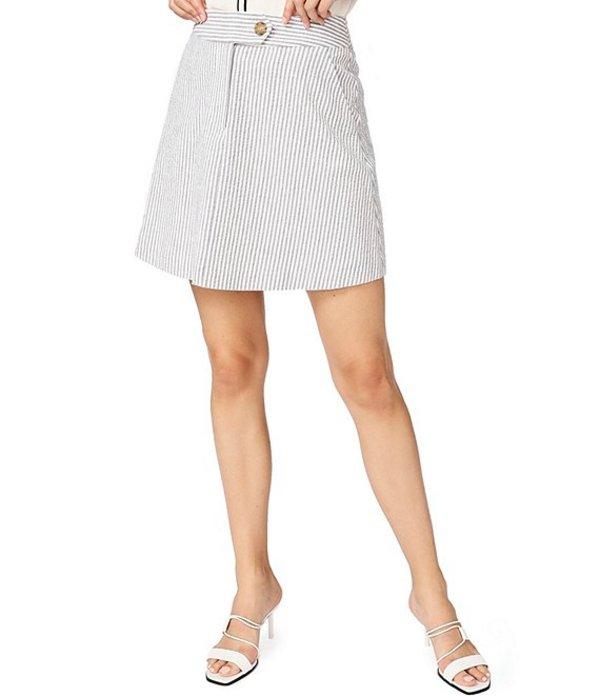 コート&ロー レディース スカート ボトムス Striped Seersucker Cotton Blend A-Line Skirt Stone Gray