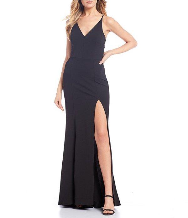 ティーズミー レディース ワンピース トップス Spaghetti Strap Plunge V-Neck Solid Trumpet Dress Black