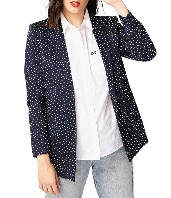コート&ロー レディース ジャケット・ブルゾン アウター Scatter Dot Print Cotton Blend One-Button Blazer Blue Night