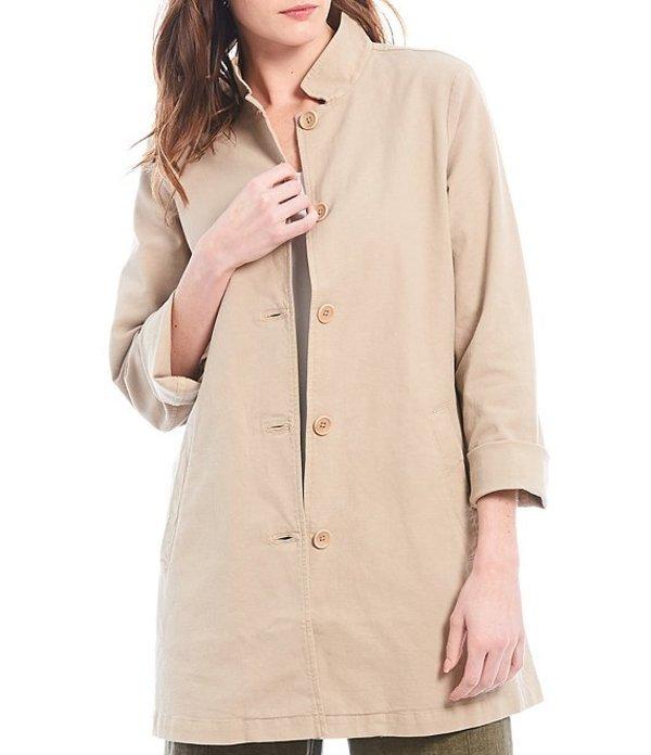 エイリーンフィッシャー レディース ジャケット・ブルゾン アウター Organic Stretch Cotton Hemp Blend Canvas Stand Collar Button Front Shirt Jacket Khaki