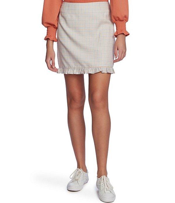ワンステート レディース スカート ボトムス Festival Check Ruffled Mini Skirt Light Heather Grey