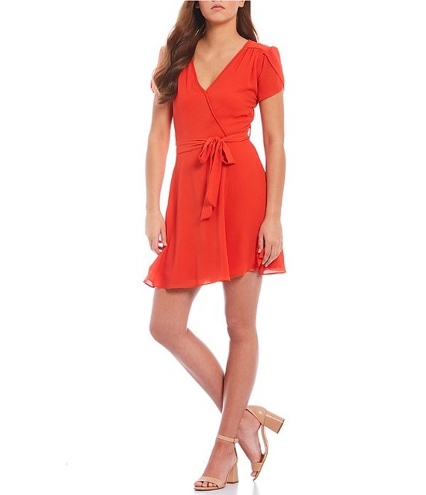 送料無料 サイズ交換無料 ティーズミー レディース トップス ワンピース Tangerine ティーズミー レディース ワンピース トップス Short Sleeve V-Neck Sash Tie Waist Faux-Wrap Dress Tangerine