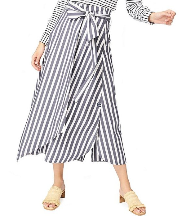 コート&ロー レディース スカート ボトムス Wide Striped Tie Waist Cotton Blend Midi Skirt Blue Night