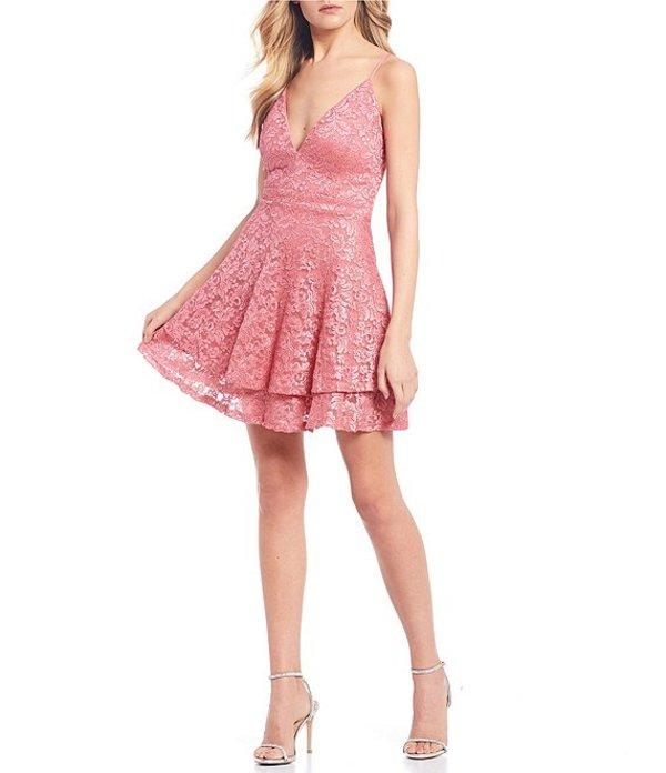 ハニーアンドロージー レディース ハーフパンツ・ショーツ ボトムス Spaghetti Strap V-Neck Lace Bra-Back Double Hem Skirt Dress Coral