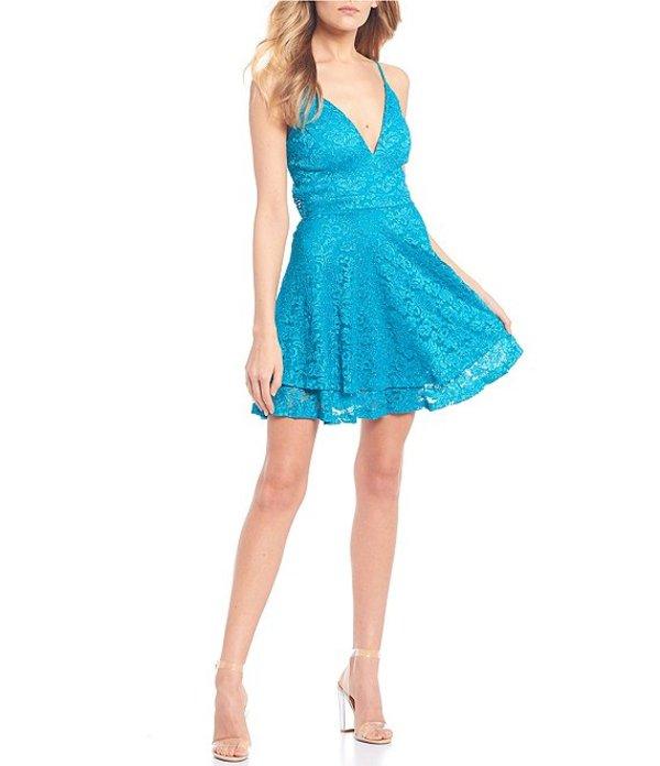 ハニーアンドロージー レディース ハーフパンツ・ショーツ ボトムス Spaghetti Strap V-Neck Lace Bra-Back Double Hem Skirt Dress Turquoise
