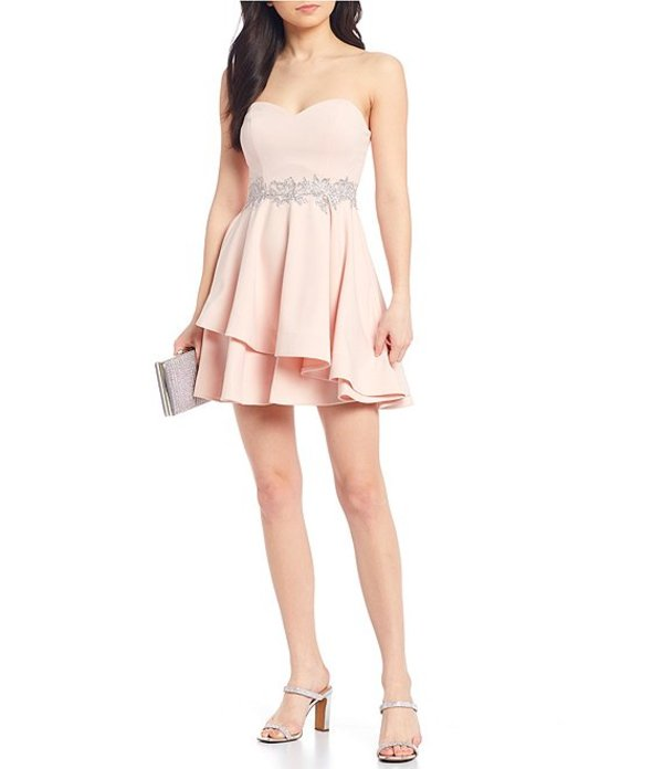 ビーダーリン レディース ワンピース トップス Strapless Embroidered Waist Double Hem Dress Blush/Silver