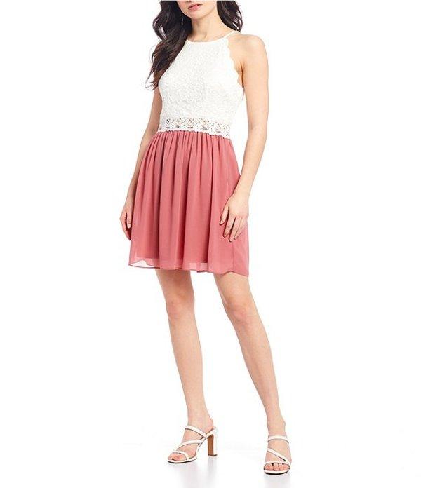I.N.サンフランシスコ レディース ワンピース トップス Scalloped Lace Bodice Color-Block Dress Quartz