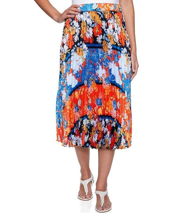 ルビーアールディー レディース スカート ボトムス Floral Stripe Placement Print Pull-On Pleated Skirt Navy Multi
