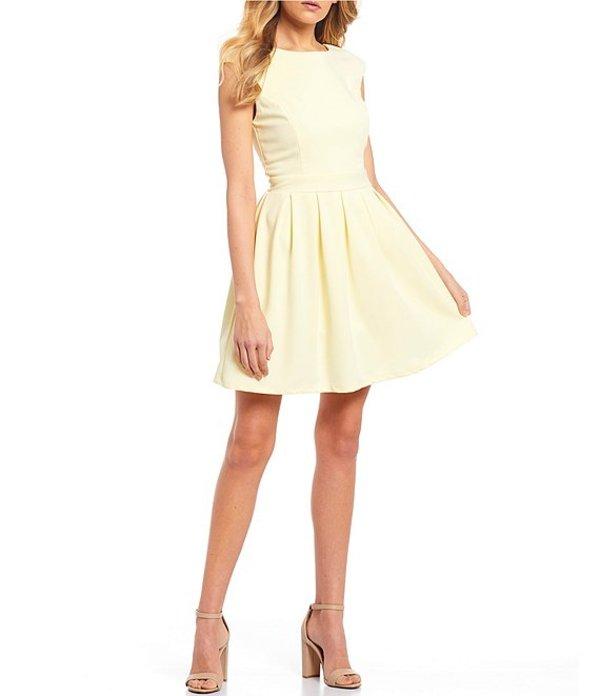 ハニーアンドロージー レディース ワンピース トップス Cap Sleeve Cut-Out Back Fit-and-Flare Dress Lemon