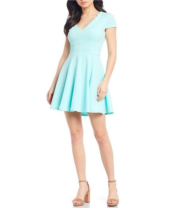ビーダーリン レディース ワンピース トップス Scalloped V-Neck Bow Back Fit-and-Flare Dress Mint