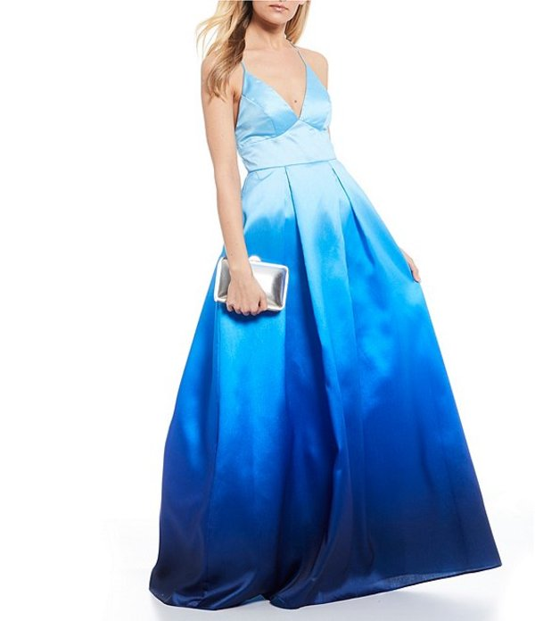 ビーダーリン レディース ワンピース トップス Spaghetti Strap Ombre Tie-Neck Satin Ballgown Dark Blue/Light Blue