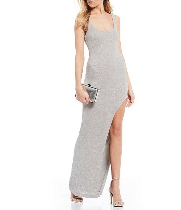 ビーダーリン レディース ワンピース トップス Square Neck Leg Cut-Out Glitter Long Dress Silver