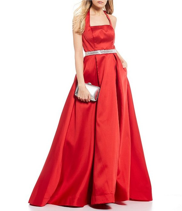 ビーダーリン レディース ワンピース トップス Sleeveless Tie-Back-Neck Jewel Waist Satin Ballgown Red/Silver