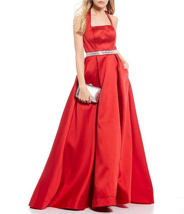 ビーダーリン レディース ワンピース トップス Sleeveless Tie-Back-Neck Jewel Waist Satin Ballgown Red/Silver