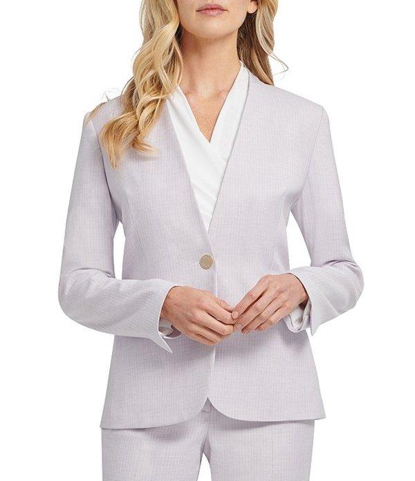 ダナ キャラン ニューヨーク レディース ジャケット・ブルゾン アウター Striped Collarless V-Neck Long Sleeve Button Front Jacket Lava