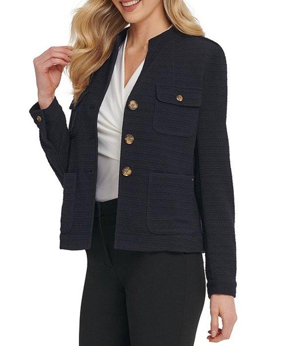ダナ キャラン ニューヨーク レディース ジャケット・ブルゾン アウター Knit Cargo Pocket Long Sleeve Jacket Classic Navy