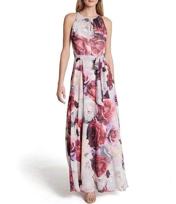 タハリエーエスエル レディース ワンピース トップス Petite Size Keyhole Round Neckline Floral Printed Tie Waist Chiffon A-Line Dress Blue/Pink Floral