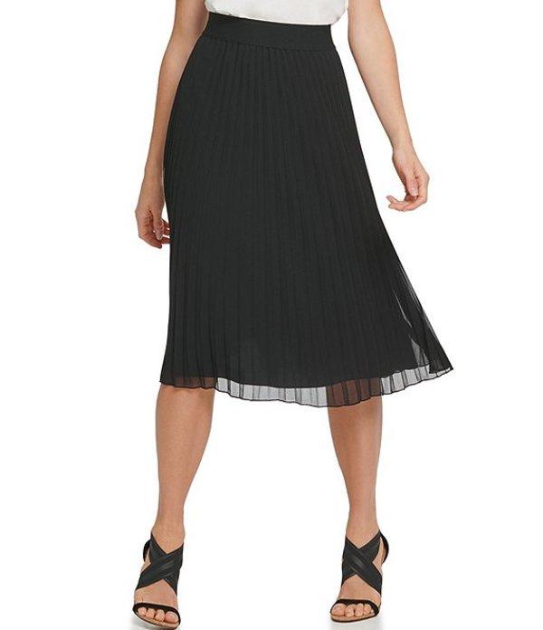 ダナキャラン レディース スカート ボトムス DKNY Chiffon Pleated Pull-On A-Line Skirt Black