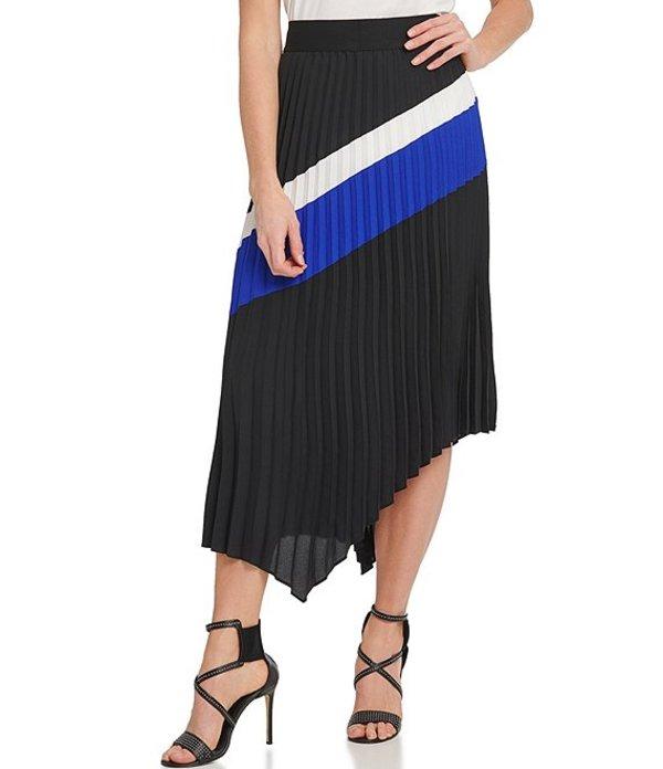 ダナキャラン レディース スカート ボトムス Colorblock Crepe de Chine Pull-On Asymmetrical Hem Pleated Midi Skirt Black/Ivory/Electric Blue