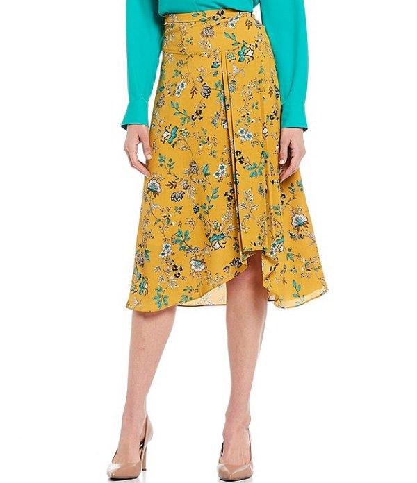 カルバンクライン レディース スカート ボトムス Garden Floral Print Drop Yoke Pleat Detail Asymmetric Hi-Low Midi Skirt Ochre Multi