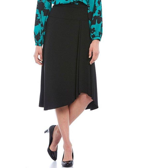 カルバンクライン レディース スカート ボトムス Scuba Crepe Drop Yoke Pleat Detail Asymmetric Hi-Low Midi Skirt Black