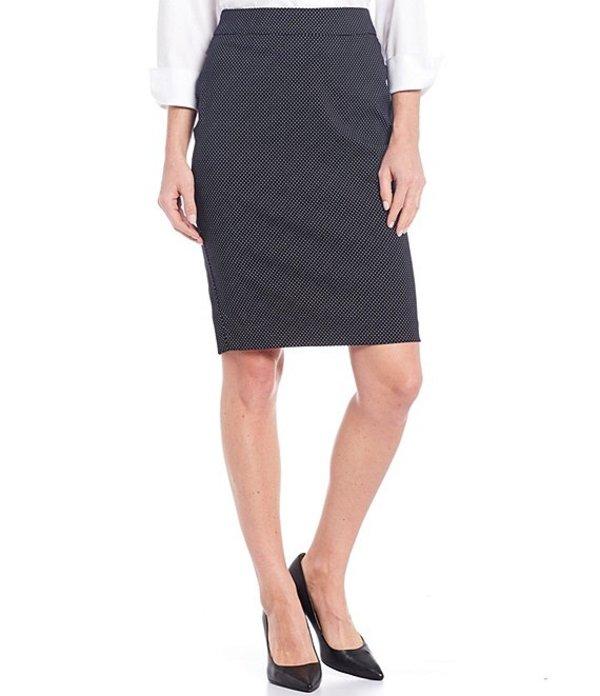 インベストメンツ レディース スカート ボトムス Petite Size Elite Stretch Back Zip Dot Print Pencil Skirt Black/White Dot