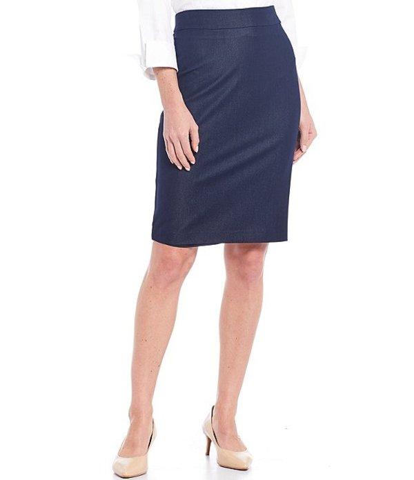 インベストメンツ レディース スカート ボトムス Petite Size Elite Stretch Back Zip Indigo Pencil Skirt Indigo