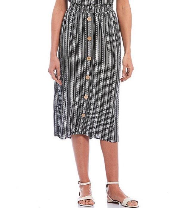 アイエヌ スタジオ レディース スカート ボトムス Petite Size Striped Pull-On Button Front Detail Crepon Midi Skirt Multi