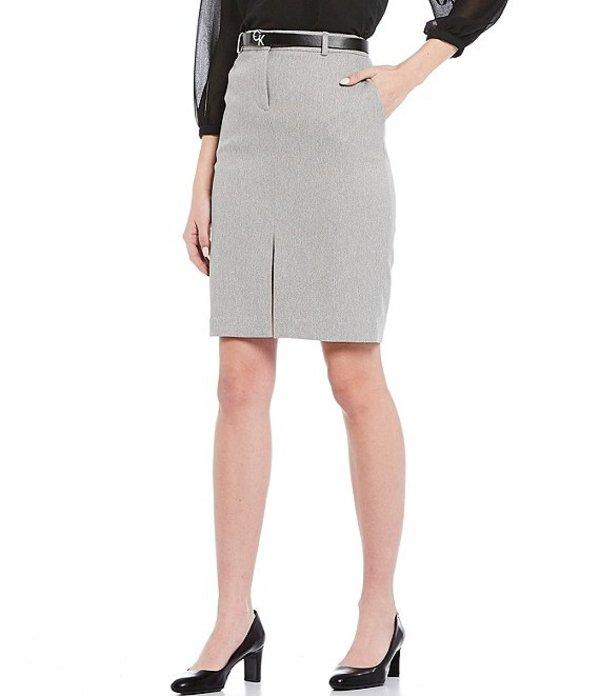 カルバンクライン レディース スカート ボトムス Petite Size Stretch Twill Suiting Belted Trouser Skirt Tin White