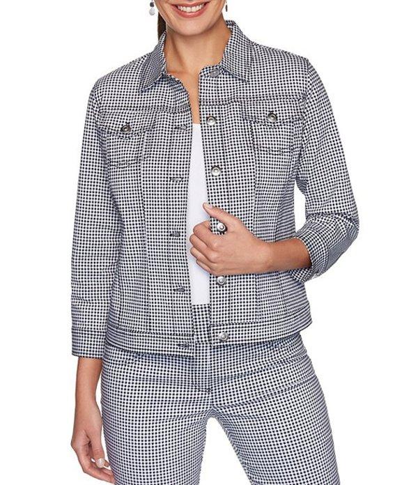 ルビーアールディー レディース ジャケット・ブルゾン アウター Petite Size Gingham Print 3/4 Sleeve Button Front Jacket Black/White