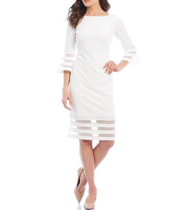 カルバンクライン レディース ワンピース トップス Scuba Crepe Illusion Band 3/4 Bell Sleeve Sheath Dress Cream