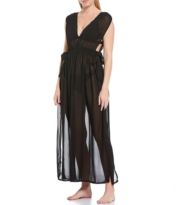 ジービー レディース ワンピース トップス Solid Plunge V-Neck Sheer Maxi Dress Swim Cover Up Black