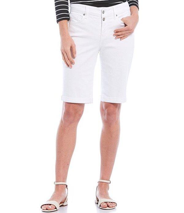 エヌワイディージェイ レディース ハーフパンツ・ショーツ ボトムス Mock Fly Roll-Cuff Bermuda Shorts White