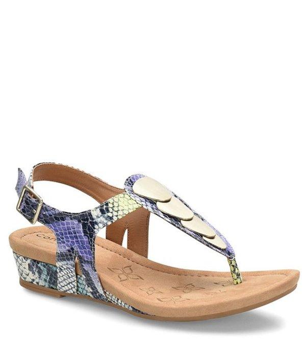 コンフォーティバ レディース サンダル シューズ Summit Snake Print Leather Thong Sandals Purple
