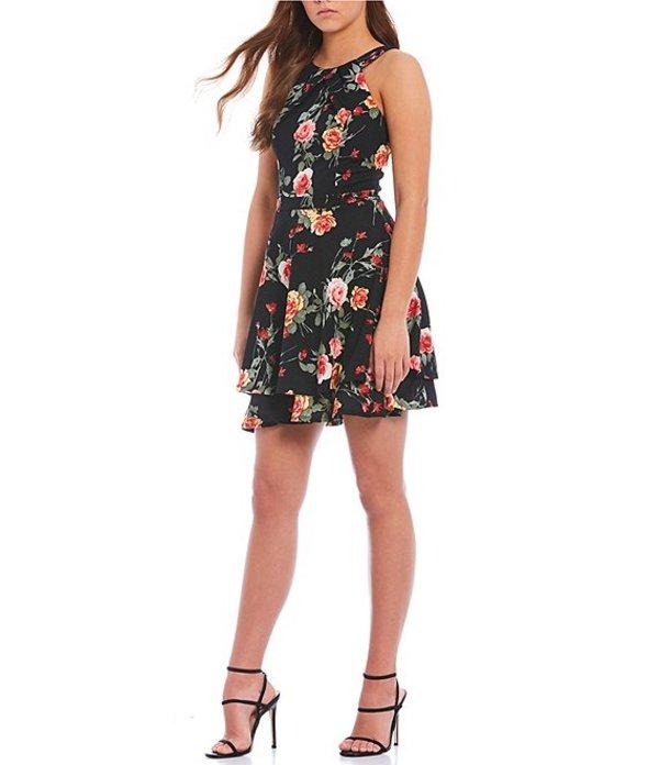 ハニーアンドロージー レディース ワンピース トップス Pleated-Neck Floral Fit-And-Flare Dress Black/Red