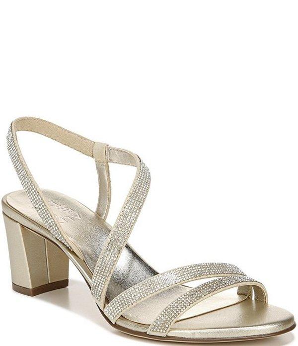 ナチュライザー レディース サンダル シューズ Vanessa Strappy Crystal Detail Block Heel Evening Dress Sandals Champagne