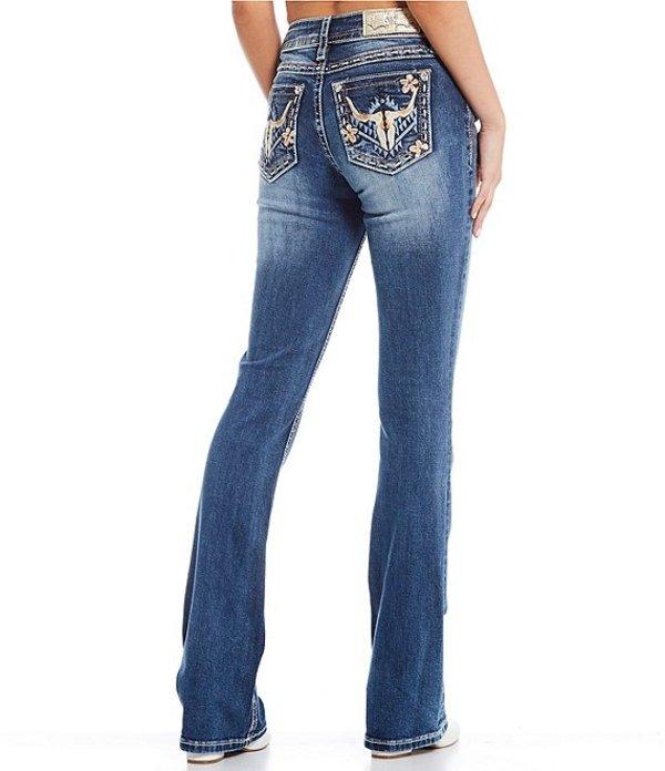 ミスミー レディース デニムパンツ ボトムス Cow Horn Embroidered Pocket Bootcut Jeans Dark Blue