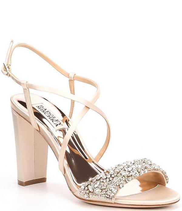 バッジェリーミシュカ レディース サンダル シューズ Carolyn Satin Crystal Embellished Block Heel Dress Sandals Soft Nude