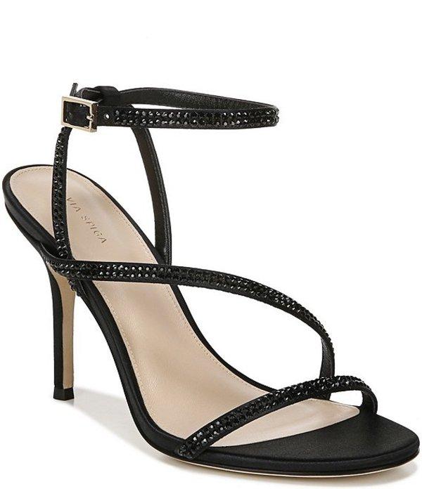 ヴィアスピガ レディース サンダル シューズ Pavlina3 Crystal Embellished Satin Dress Sandals Black