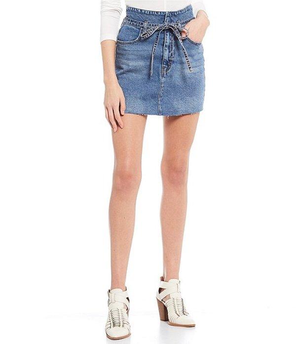 ジービー レディース スカート ボトムス Tie Waist Denim Mini Skirt Blue