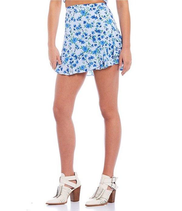 ジービー レディース スカート ボトムス Coordinating Floral Print Ruffle Front Mini Skirt Blue